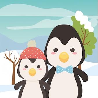 Pareja de dibujos animados de pingüinos