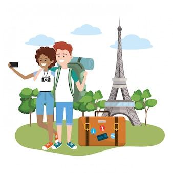 Pareja de dibujos animados turista