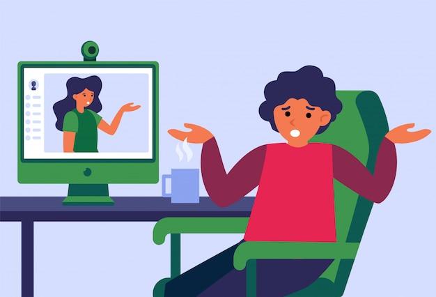 Pareja discutiendo durante el chat de video en línea