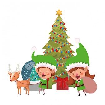 Pareja de duendes con árbol de navidad