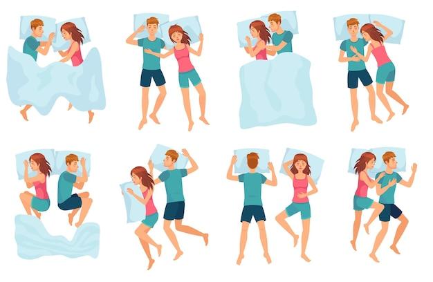 Pareja duerme en diferentes poses. hombre y mujer durmiendo juntos, pareja en la cama y conjunto de vectores de sueño nocturno saludable. lindo niño y niña durmiendo. personajes de dibujos animados masculinos y femeninos que se quedan dormidos.