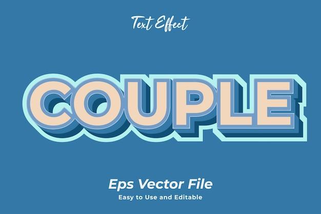 Pareja de efectos de texto editable y fácil de usar vector premium