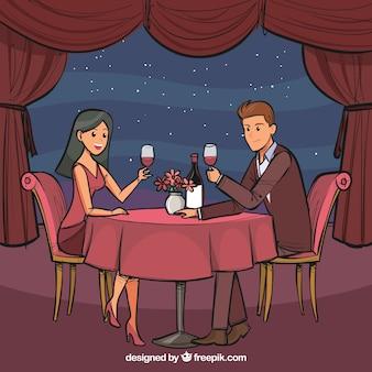 Pareja elegante cenando dibujado a mano