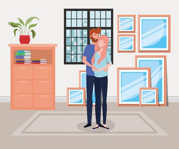 Pareja de embarazo en casa