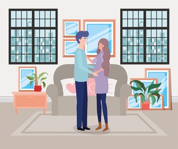 Pareja de embarazo en la escena de la sala de estar