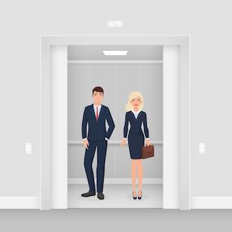 Pareja de empresarios de oficina en traje de ropa formal permanecer juntos