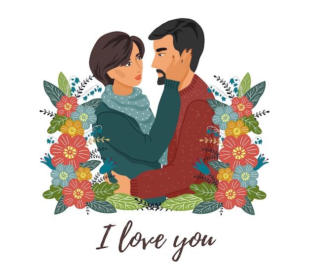 Pareja enamorada y flores