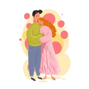 Pareja enamorada. hombre y mujer abrazándose cariñosamente. personajes para la fiesta de san valentín. ilustración en dibujos animados