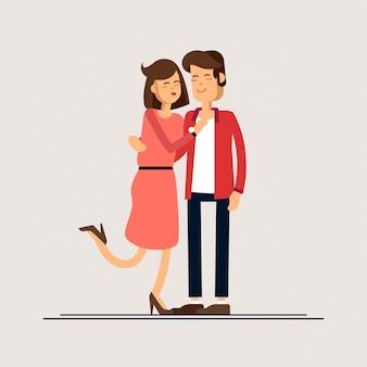 Pareja enamorada. hombre y mujer abrazándose cariñosamente.