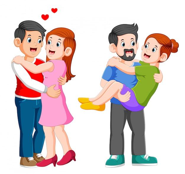 Pareja enamorada. hombre y mujer abrazándose cariñosamente