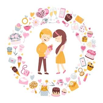 Pareja enamorada. el niño le da a la niña un ramo de flores para el día de san valentín o cumpleaños.