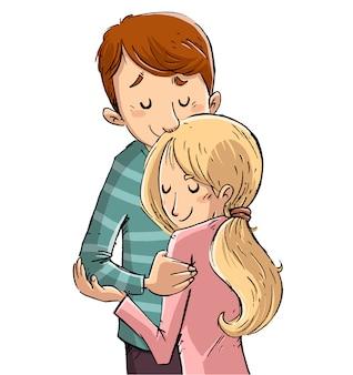 Pareja de enamorados abrazándose