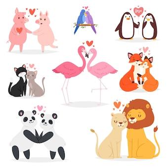 Pareja de enamorados amantes de los animales personajes panda o gato en cita amorosa en el día de san valentín y flamingo besándose ilustración de pájaro amado corazón encantador conjunto sobre fondo blanco