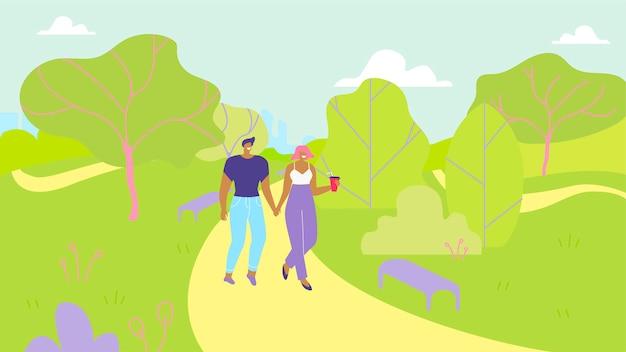 Pareja de enamorados caminando en el parque de dibujos animados del jardín