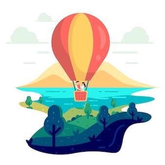Pareja de enamorados está volando en un globo de aire caliente.
