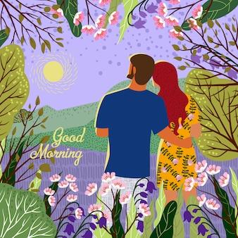 La pareja se encuentra con un nuevo día. amanecer, colinas, flores, árboles, paisaje natural en un moderno estilo plano y lindo. ilustración