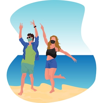 Pareja enmascarada disfrutando de sus vacaciones en la playa juntos