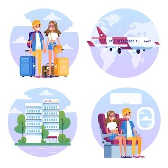 Pareja con equipaje viaja en avión. hombre y mujer
