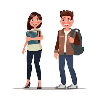 Pareja de estudiantes el chico y la chica sobre un fondo blanco.