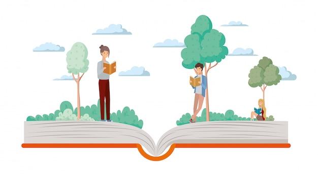 Pareja de estudiantes leyendo libros