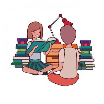 Pareja de estudiantes con libro de lectura