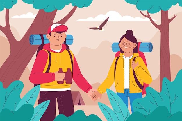Pareja explorando juntos nuevos destinos