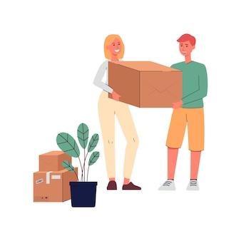 Pareja feliz con caja de cartón - hombre y mujer de dibujos animados mudanza