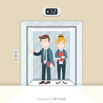 Pareja feliz en ascensor