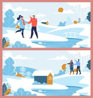 Pareja feliz familia y conjunto de descanso de suburbio de invierno