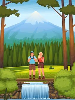 Pareja feliz en el fondo del bosque y las montañas. excursionismo. personajes hombre y mujer miran el paisaje de verano. recreación activa al aire libre. ilustración vectorial en estilo de dibujos animados