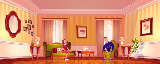 Pareja feliz en la sala de estar en estilo victoriano clásico