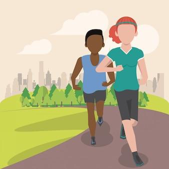 Pareja de fitness corriendo