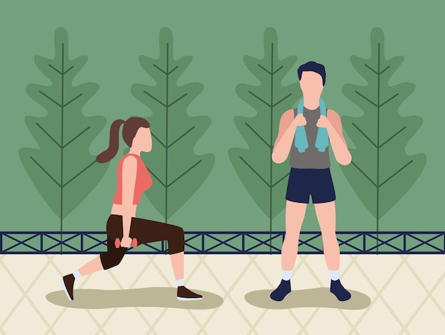 Pareja fitness practicando deporte