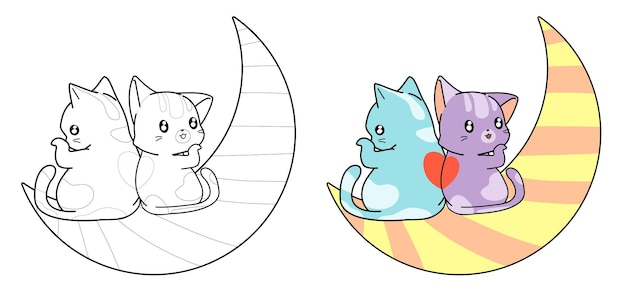 Pareja gato en la página para colorear de dibujos animados de luna