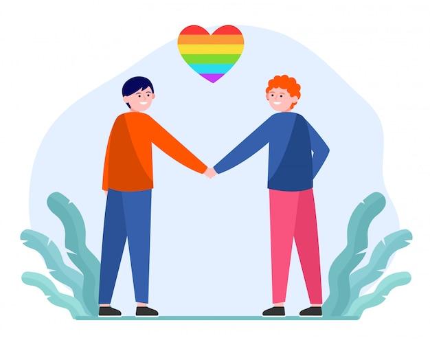 Pareja gay masculina con corazón de arco iris