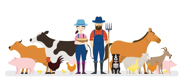 Pareja de granjeros y perro con animales de granja