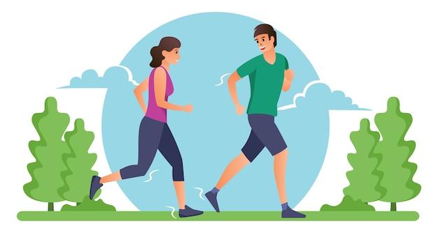 Una pareja hace ejercicio corriendo por la mañana.