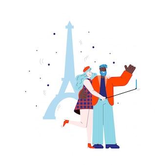 Pareja hace selfie en torre eiffel telón de fondo ilustración boceto aislado.