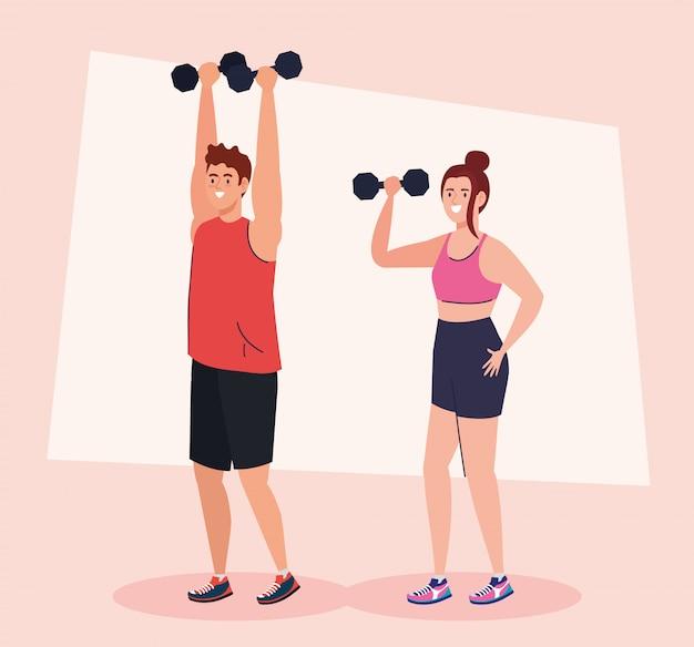Pareja haciendo ejercicios con pesas, ejercicio de recreación deportiva