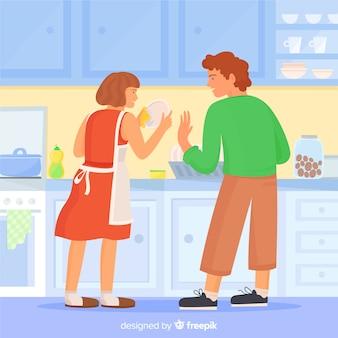 Pareja haciendo tareas domésticas juntos