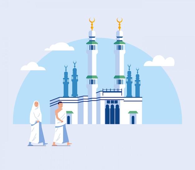 Pareja hajj peregrinación a pie a la gran mezquita de la meca