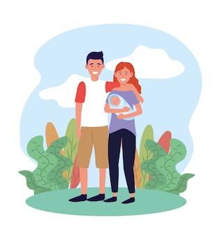 Pareja hombre y mujer con su bebé y plantas.