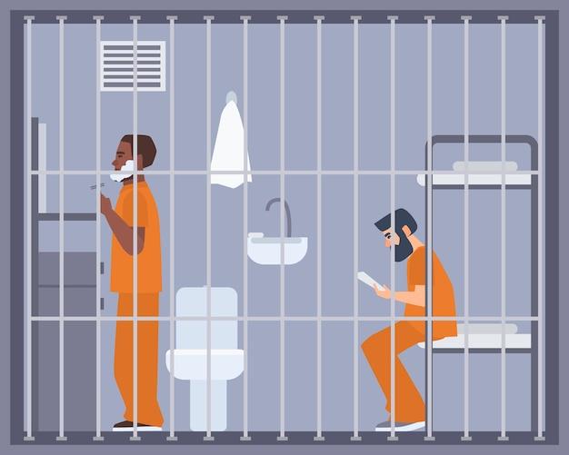 Pareja de hombres en prisión, cárcel o sala de centro de detención.