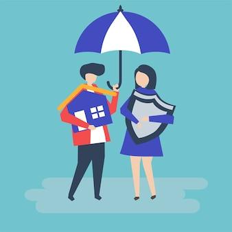 Pareja y una ilustración de concepto de seguro de casa