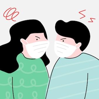 Pareja infeliz durante la pandemia de coronavirus