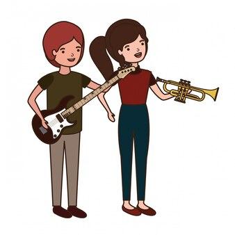 Pareja con instrumentos musicales avatar personaje.