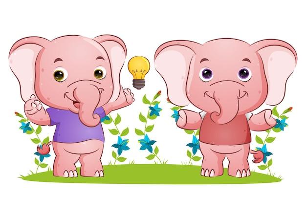 La pareja inteligente elefante está teniendo la ilustración de ideas brillantes.