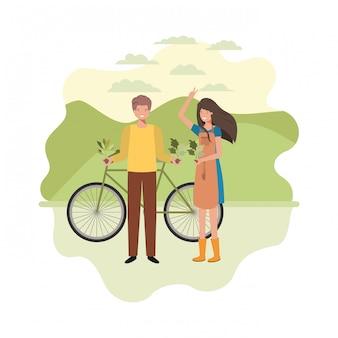 Pareja de jardineros con paisaje y bicicleta