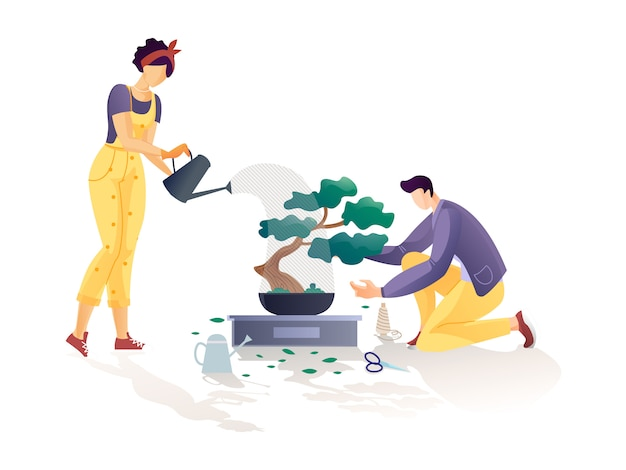 Pareja de jardineros regando árboles y recogiendo hojas