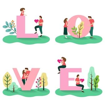 Pareja joven amante con alfabetos de amor